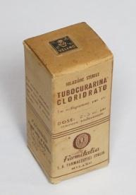 Confezione di Tubocurarina. Il farmaco moderno, formulato dal curaro, coadiuvante nell'anestesia
