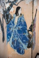 Beltà femminili, paravento a 6 ante dipinto a inchiostro e colori su carta, 173x372 cm, periodo Taisho (1912-1926) [DETTAGLIO 4]