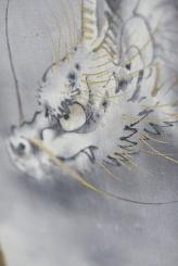 Drago e tigre, dittico di rotoli verticali dipinti a inchiostro e colori su seta, 120x40 cm cad. [DETTAGLIO 2]