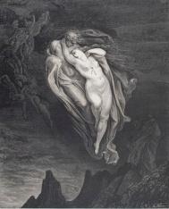 Gustave-Dor-Divina-Commedia-Inferno-canto-V-Le-anime-di-Paolo-e-Francesca-volano-unite-attirando-linteresse-di-Dante.