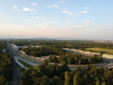 Monza (Italy) race track aerial view at sunset